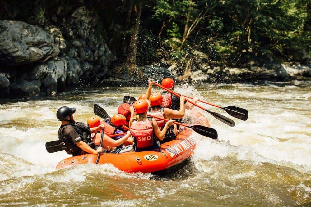 white water rafting trip on the pigeon river
