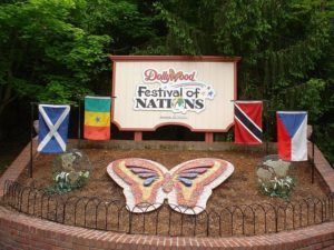 festival of nations sign with country flags surrounding