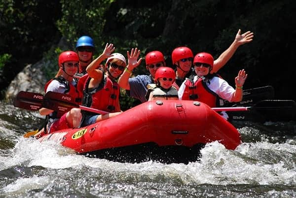 Big family white water rafting