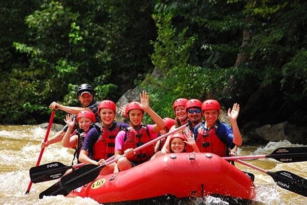 Big family enjoying a Lower Pigeon River rafting trip.