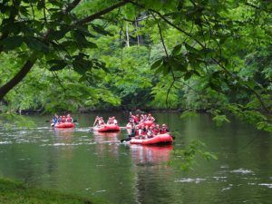 Rafts floating down the Pigeon River.