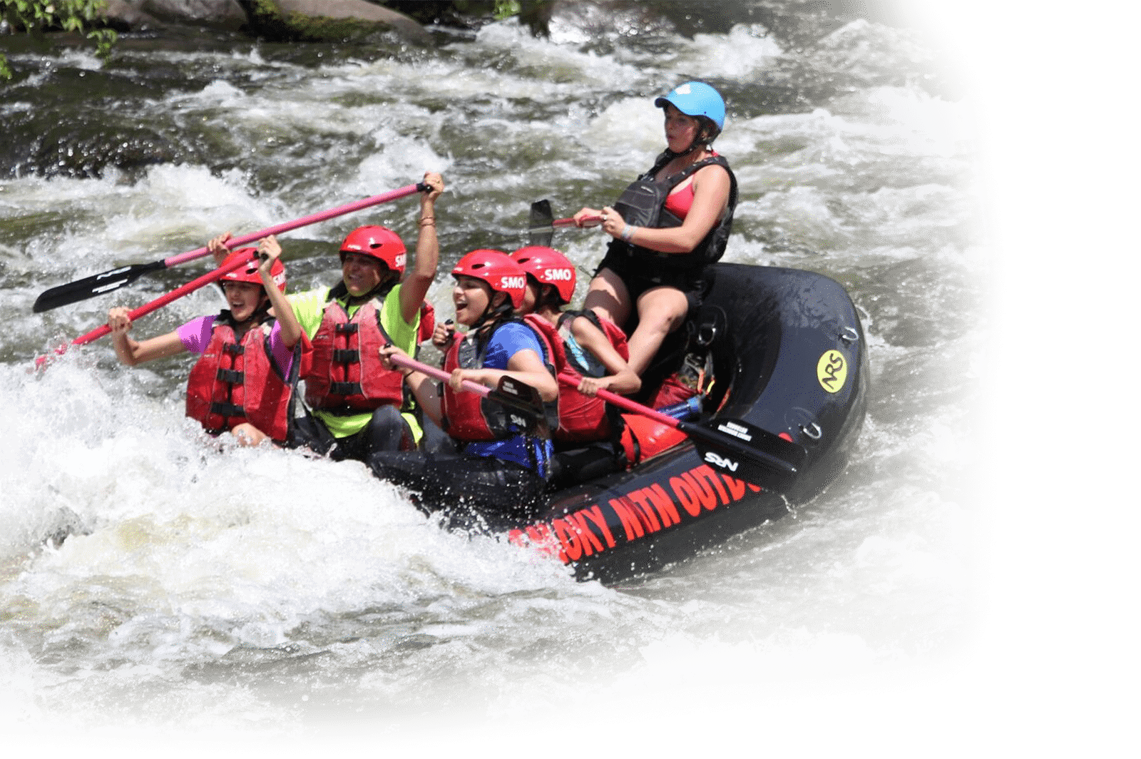 Guide with rafters in whitewater on Pigeon River with Smoky Mountain Outdoors